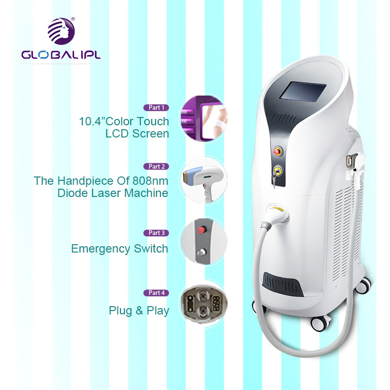 Advanced 808nm Diode Laser Hair Removal Machine Humanized Bend Design Handpiece
